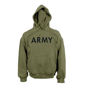 Rothco Mens Army PT Pullover Hooded Sweatshirt - Size S - XL Front View