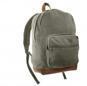 Rothco Vintage Canvas Teardrop Backpack With Leather Accents -  Olive Drab Right Side Angle View