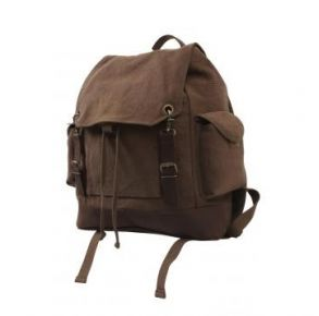 Rothco Vintage Expedition Rucksack - Brown Left Side Angle View