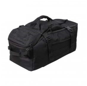 Rothco 3-In-1 Convertible Mission Bag - Black Front Flat Top Right Side Angle View