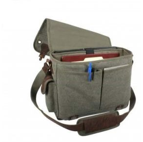 Rothco Canvas Trailblazer Laptop Bag - Olive Drab Right Slated Open Top Angle View