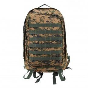 Rothco MOLLE II 3-Day Assault Pack - Woodland Digital Camo Front View