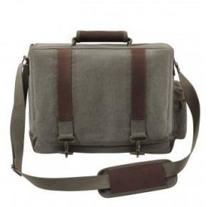 Rothco Vintage Canvas Pathfinder Laptop Bag With Leather Accents - Olive Drab Front View