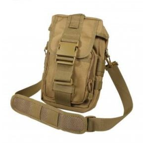 Rothco Flexipack MOLLE Tactical Shoulder Bag - Coyote Brown Right Side Slated Angle View