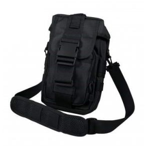 Rothco Flexipack MOLLE Tactical Shoulder Bag - Black Right Side Slated Angle View