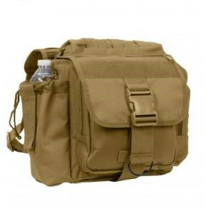 Rothco XL Advanced Tactical Shoulder Bag - Coyote Brown Left Side Angle View