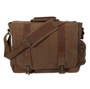 Rothco Vintage Canvas Pathfinder Laptop Bag With Leather Accents - Earth Brown Front View