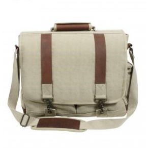Rothco Vintage Canvas Pathfinder Laptop Bag With Leather Accents - Khaki Front View