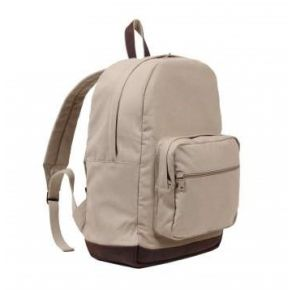 Rothco Vintage Canvas Teardrop Backpack With Leather Accents - Khaki Right Side Angle View