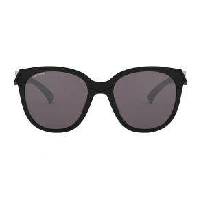Oakley Womens Low Key Polished Black Frame - Prizm Gray Lens - Polarized Sunglasses Front View