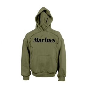 Rothco Mens Marines Pullover Hooded Sweatshirt - Size S - XL Front View