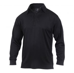 Rothco Long Sleeve Tactical Performance Polo - Black - Size 3XL Front View