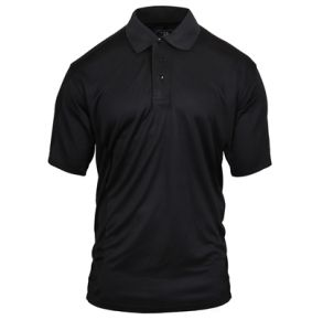 Rothco Mens Moisture Wicking Polo Shirt - Black - Size 3XL Front View