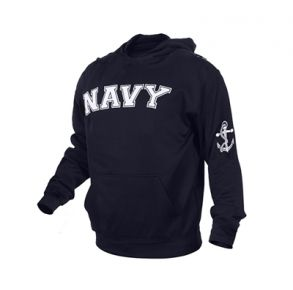 Rothco Mens Navy Military Embroidered Pullover Hoodie Sweatshirt - Size S - XL Front View