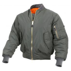 Rothco Mens Enhanced Nylon MA-1 Flight Jacket - Sage Green - Size 2XL Front View