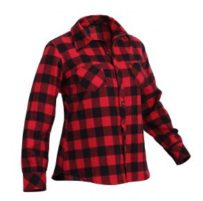 Rothco Womens Plaid Flannel Long Sleeve Shirt - Size XS - XL Right Side Angle View