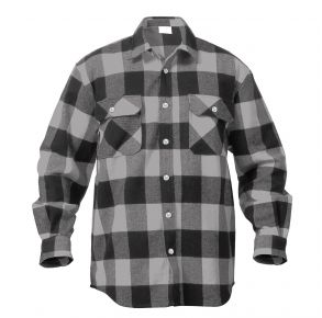 Rothco Mens Extra Heavyweight Buffalo Plaid Flannel Shirt - Size S - XL Front View
