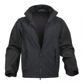 Rothco Mens Soft Shell Uniform Jacket - Black - 2XL Front View