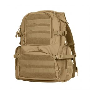 Rothco Multi-Chamber MOLLE Assault Pack - Coyote Brown Front View