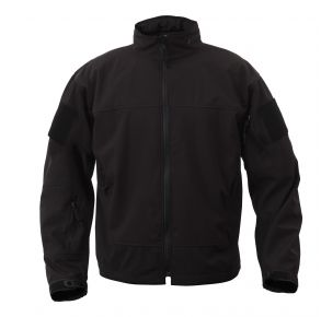 Rothco Mens Covert Ops Lightweight Soft Shell Jacket - Black - Size S - XL Front View