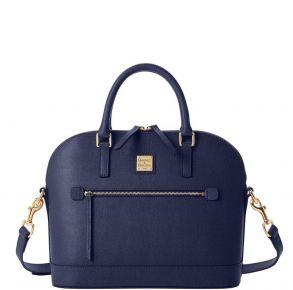 Dooney & Bourke Saffiano Domed Zip Satchel Handbag - Marine Front View