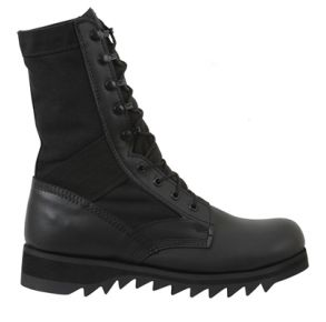 Rothco Mens Black Ripple Sole Jungle Boot Right Side Angle View