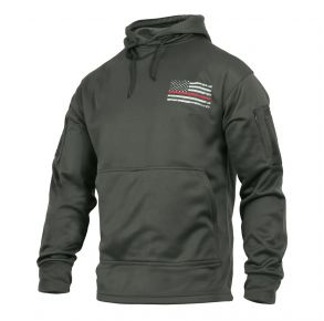 Rothco Mens Thin Red Line Concealed Carry Hoodie Sweatshirt - Size S - XL Left Side Angle View