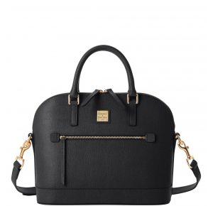 Dooney & Bourke Saffiano Domed Zip Satchel Handbag - Black Front View