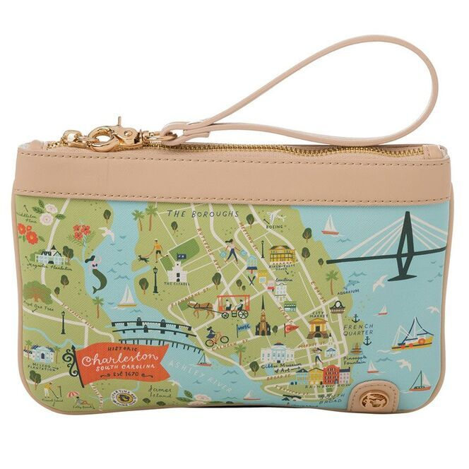 Spartina 449 greetings from map zip wristlet charleston for Housse zip collection captur